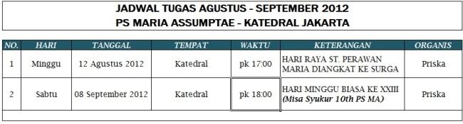 Jadwal Tugas MA (Periode Agustus - September 2012)