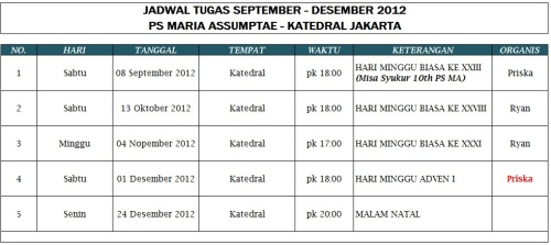 Jadwal Tugas PS MA (Periode September - Desember 2012)