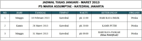 Jadwal Tugas PS MA (Periode Januari - Maret 2013)