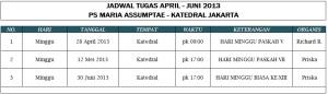 Jadwal Tugas PS MA (Periode April - Juni 2013)