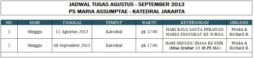 Jadwal Tugas PS MA (Periode Agustus - September 2013)