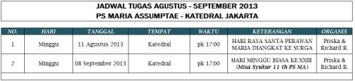 Jadwal Tugas PS MA (Periode Agustus - September 2013)