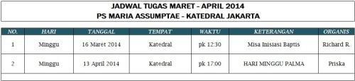 Jadwal Tugas PS  MA (Periode Maret - April 2014)
